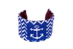 Asher Riley Royal Blue and White Cheveron Needlepoint Cuff