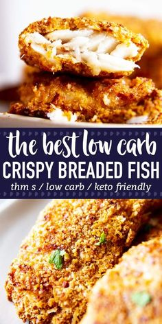 Low Carb Oven Fried Fish is a delicious way to serve up breaded fish - without all of the carbs! The breading is easy to make and turns into a golden crispy coating, perfect to dip into mayo! This recipe is Trim Healthy Mama (THM S), low carb and keto fr Oven Fried Fish, Fried Fish Recipes, Seafood Recipes, Diet Recipes, Healthy Recipes, Chicken Recipes, Breaded Baked Fish, Fish Recipe Keto, Breaded Fish Recipe