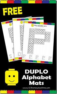 Free printable Duplo Alphabet Mats.