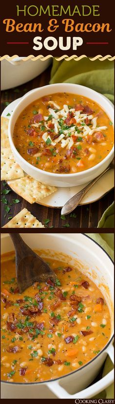 Bean and Bacon Soup - Way better than the canned stuff! Where has this been all…