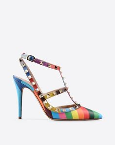 Valentino Garavani <3 Metal Applications, Stripes, Side buckle closure, Leather sole, Narrow toeline, Spike heel,
