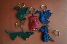 Leather animal keychains!!