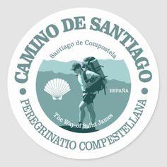 Shop Camino de Santiago Classic Round Sticker created by AdventureExtreme. Hiking Food, Hiking Gear, Hiking Backpack, Hiking Gifts, The Camino, Mountain Hiking, Saint James, Hiking Equipment, Custom Stickers