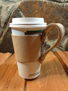 The MUGGER  Leather Coffee Sleeve with Mug by VonTanninLeatherCo, $40.00
