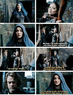 """""""If I'm going to die, let it happen while there's still some of me left"""" - Sansa, Theon and Myranda #GameOfThrones"""