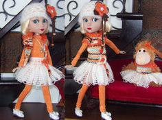Hand-knit set for Wilde/Tonner Patience Doll and Monkey with matching Dress