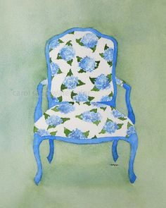 Watercolor french chair hydrangea print of original painting 8 x 10