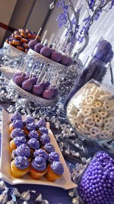 Pandora Jewelry OFF! You can put anything at your dessert table: Cake pops donuts cupcakes mini cakes cookies or candies. Purple Dessert Tables, Purple Candy Buffet, Purple Desserts, Purple Cupcakes, White Cupcakes, Dessert Party, Buffet Dessert, Candy Buffet Tables, Food Buffet
