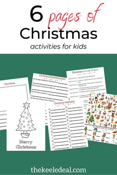 Printable Christmas Activity pages for kids. These 6 pages of holiday fun will keep the kids entertained and even learning something during the holidays. This is perfect for an activity at home, Christmas class activity or holiday play group. Christmas Trivia, Christmas Alphabet, Christmas Post, Family Christmas, Christmas Traditions, Christmas And New Year, Educational Activities For Kids, Christmas Activities For Kids, Science Activities For Kids