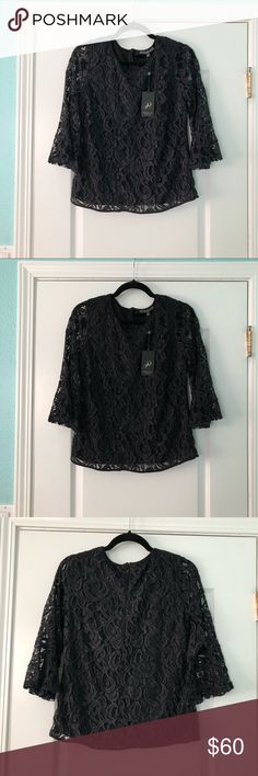 NWT ADRIANNA PAPELL LACEY BLACK SPARKLY BLOUSE ✨ BRAND NEW WITH TAGS! ✨ EXCELLENT CONDITION! ✨ BLACK INLAID WITH METALLIC SPARKLE  ⚪️ I CAN'T ACCEPT OFFERS IF YOU DON'T MAKE THEM! ⚪️ PLEASE COMMENT IF YOU HAVE ANY QUESTIONS!  ⚫️ NO TRADES/HOLDS  ✨ BUNDLE 2 OR MORE ITEMS AND GET 10% OFF! Adrianna Papell Tops Blouses