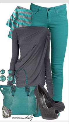 Teal and gray dressy casual