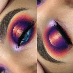 Dramatic Eye Look Purple Orange Eyeshadow Spotlight Eye  Pin: @amerishabeauty