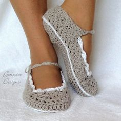 Crochet Slippers Pattern Skinny Flats Sizes in Womens and Kids PDF  $4.95