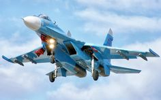 青色の戦闘機の飛行 壁紙 -