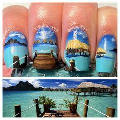 Nails By Celine: Tahitian Beach Nail Art wow http://celinedoesnails.blogspot.com/2013/07/tahitian-beach-nail-art.html