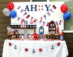 creative and cute of july party decoration idea - love the balloons and party banners Nautical Party, Nautical Wedding, Nautical Backdrop, Anchor Party, Nautical Mickey, Navy Party, Nautical Cake, Patriotic Party, 4th Of July Party