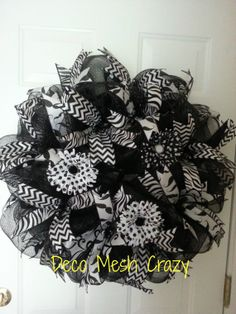 Black and White Deco Mesh Wreath