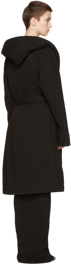 Rick Owens Drkshdw: Black Belted Robe Coat | SSENSE