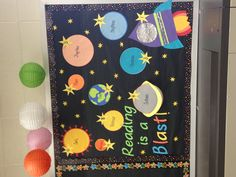 Space themed bulletin board for AR Goals! Each student gets an astronaut to move around the Solar System!