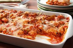 Try it once, and you'll want Everyday Easy Chicken Lasagna every day! Oven-ready noodles and a prepared spaghetti sauce make this chicken lasagna great. Baked Ziti Healthy, Healthy Cooking, Healthy Eating, Cooking Recipes, What's Cooking, Vegetarian Cooking, Easy Chicken Lasagna Recipe, Chicken Recipes, Lasagna Recipes
