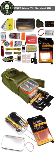 ESEE's Large Tin Survival Kit with Orange or Olive Drab Pouch. This kit includes mess tin kit container, Candiru Knife, OD MOLLE Pouch, SAK, Suunto Compass and more! Survival Supplies, Survival Tools, Survival Prepping, Survival Stuff, Survival Videos, Survival Essentials, Survival Gadgets, Survival Hacks, Tactical Survival