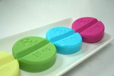 Take a Chill Pill!  Makes a wonderful gift for the friend, coworker or family member that needs some cheering up and chilling out.    Each pill is fragranced:  Yellow - Pineapple  Pink- Black Raspberry and Vanilla  Green - Cucumber Melon  White - Coconut  Blue - Blackberry Sage      This listing ...