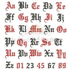 Old English Machine Embroidery Font - 10 Sizes Available - BX Format Included
