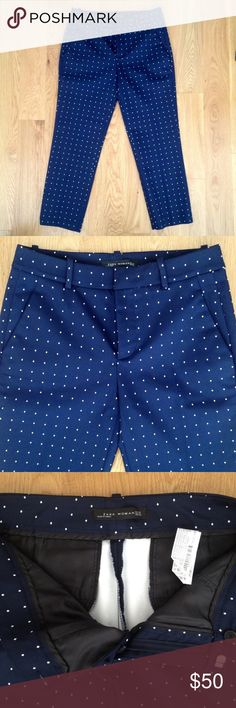 "Zara Woman cropped pants (size: XS) one pair of Zara Woman cropped pants (size:2) up for grabs! chic navy blue color with all over micro diamond print detail. polyester stretch blend. approx. 24"" inseam. never been worn. from a smoke and pet free home. Zara Pants Ankle & Cropped"