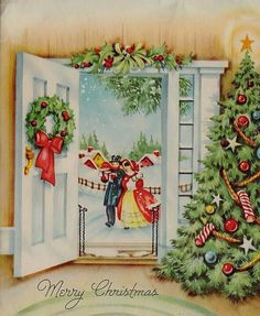 Vintage Victorian People at Door Christmas Greeting Card Images Vintage, Vintage Christmas Images, Victorian Christmas, Retro Christmas, Vintage Holiday, Christmas Pictures, Vintage Cards, Vintage Postcards, Christmas Scenes