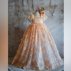 Vintage princess dress, Ball gown, fine art photoprop, baroque style, floral gown, frill sleeves, romantic dress for girl, fairytale dress, Stunning Dresses, Nice Dresses, Girls Dresses, Flower Girl Dresses, Pink Tutu Dress, Lace Dress, Ball Dresses, Ball Gowns, Fairytale Dress