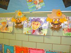 Gr. K- Scarecrow collage Gr.1- crayon resist scarecrow