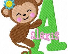 Monkey Girl Monogram Fonts Machine Embroidery Designs - 4x4 Hoop Instant Download Sale