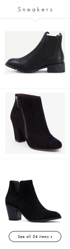 """""""S n e a k e r s"""" by laura-rathbone on Polyvore featuring shoes, boots, ankle booties, black, black ankle bootie, round toe booties, black bootie boots, black shootie, black boots and heels"""