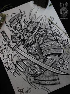 Japanese Drawings, Japanese Tattoo Art, Japanese Tattoo Designs, Samurai Warrior Tattoo, Warrior Tattoos, Body Art Tattoos, Sleeve Tattoos, 3d Tattoos, Tattoo Ink