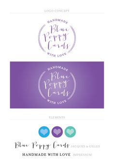 Logo concepts for Blue Poppy Cards.