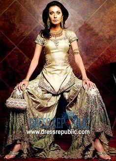 Beige Lotus, Product code: DR1527, by www.dressrepublic.com - Keywords: Shalwar Kameez Online Boutiques Bahrain, Salwar Kameez Bahrain