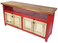 Red and White Entertainment Console with Natural Top and 4 Doors Mexican Furniture, Rustic Furniture, Painted Furniture, Furniture Design, Painted Wood, Open Shelving, Shelves, Inside Doors, Restaurant