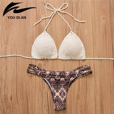 Hot Crochet Bikinis Women Sexy Low Wasit Panties Halter Swimwear Women Knitted Swimsuit Brazilian Bikini Biquini Bathing Suit