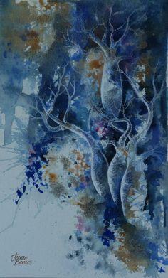 'Often mistaken for worthless pebbles'  Boab tree painting in gouache,and genuine rough diamonds  https://www.facebook.com/Jeanne.Barnes.Artist.Kununurra. sold