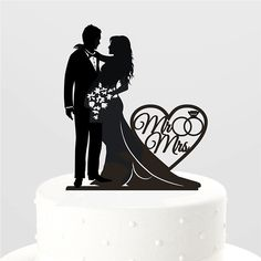 Ring With Mr and Mrs Silhouette Wedding Cake Topper Wedding Decoration - Wedding Look