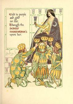Walter Crane -A floral fantasy in an old English garden Illustrators, Fantasy, Artist Inspiration, Illustration, Crane, Art Nouveau Floral, Walter Crane, Art, English Artists