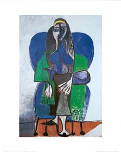 Sitting Woman with Green Scarf Print by Pablo Picasso at Art.com