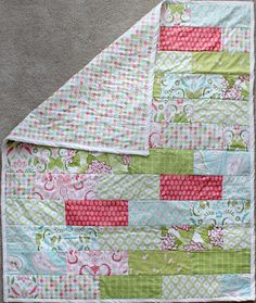 Girl Toddler Baby Quilt for Nursery Baby Shower subway title style