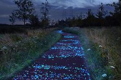 First illuminated bike path inspired by van Gogh's painting 'starry nights' by artist Daan Roosegaarde , love it!