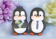 Penguin Wedding Cake Toppers - specialty-cakes