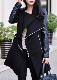 black leather and wool coat