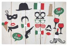 Italian/Italy photo booth props photoboothprops.nl                                                                                                                                                                                 More