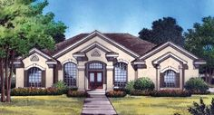 Home Plan is a gorgeous 2140 sq ft, 1 story, 4 bedroom, 3 bathroom plan influenced by New American style architecture. European House Plans, Southern House Plans, Ranch House Plans, Dream House Plans, Modern House Plans, Small House Plans, House Floor Plans, Dream Houses, The Plan