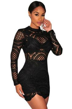 a1d22abc791 Black Crochet Lace High Neck Mini Dress