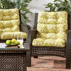 Outdoor High Back Chair Cushion (Set of 2) - Green Ikat (Green Ikat) (Polyester), Outdoor Cushion
